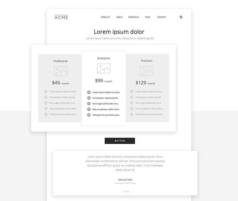 website wireframing ui kit - example of pricing page