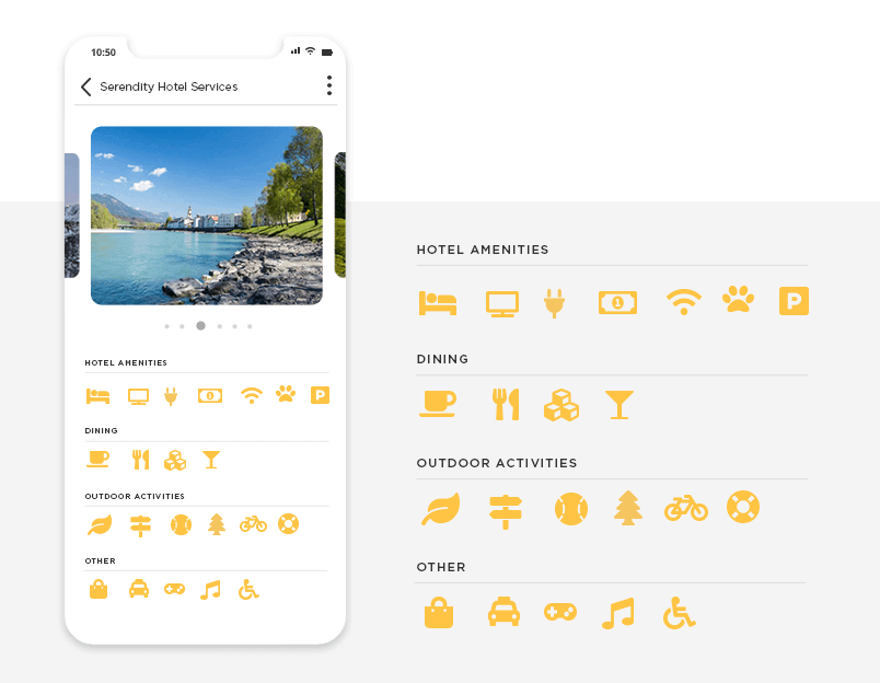 font awesome icons ui kit example of hotel app