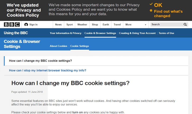 bbc top header for cookies in web design