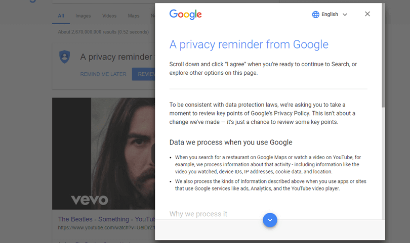 google popup for privacy and cookies in web design