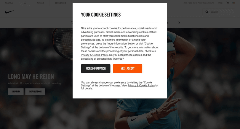 nike cookies disclaimer in web design