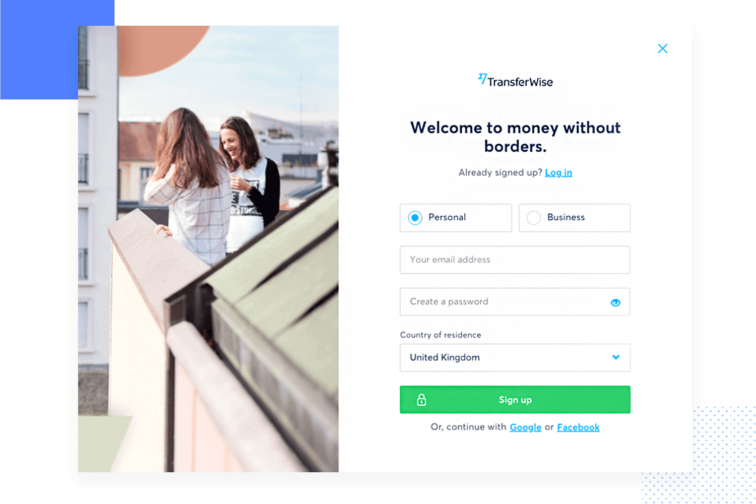 transferwise signup form