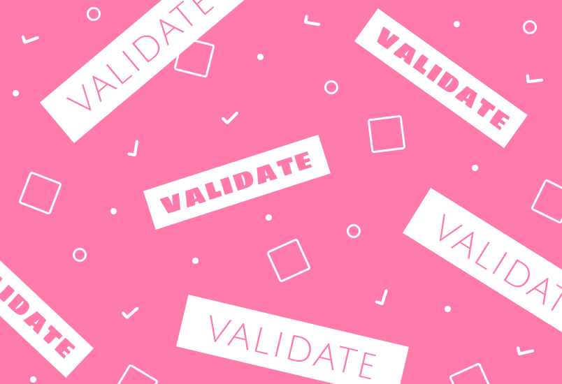 Validate product features pink background