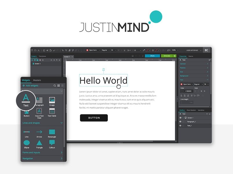 Justinmind interface features