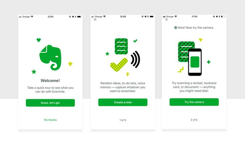 onboarding of new users in evernote app