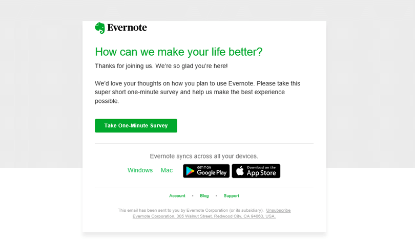 survey email for evernote ux research