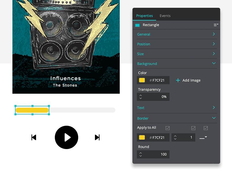 Progress bar - music player UI properties tab Justinmind
