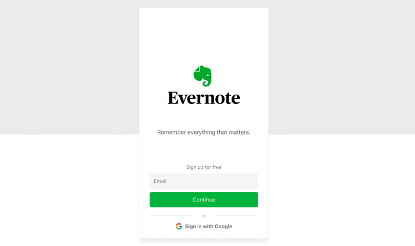 signin screen inside evernote app