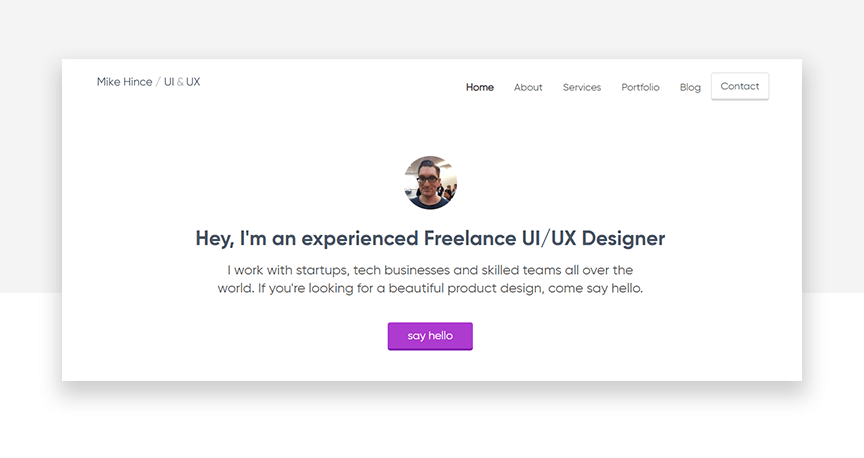 Mike Hince website header - freelance UI designer