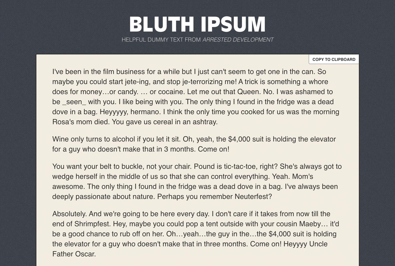 Bluth ipsum from arrested development
