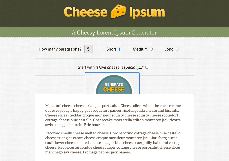 alternative to lorem ipsum: cheese ipsum