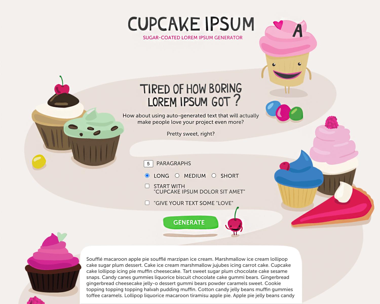 cupcake ipsum for fun prototypes