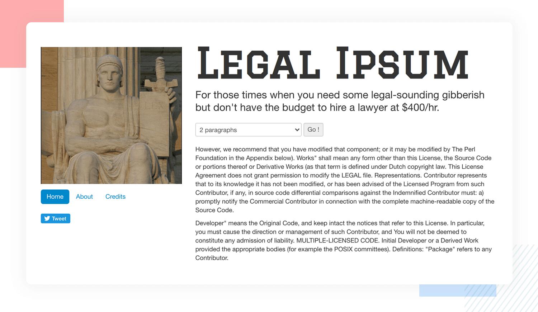 legal ipsum as alternative to classic lorem ipsum