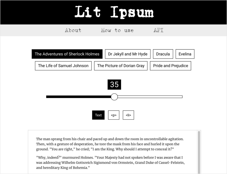 lorem ipsum alternative from novel classics