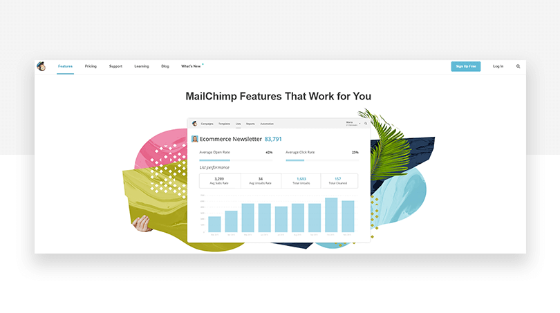 Mailchimp's old features page - website redesign - Justinmind
