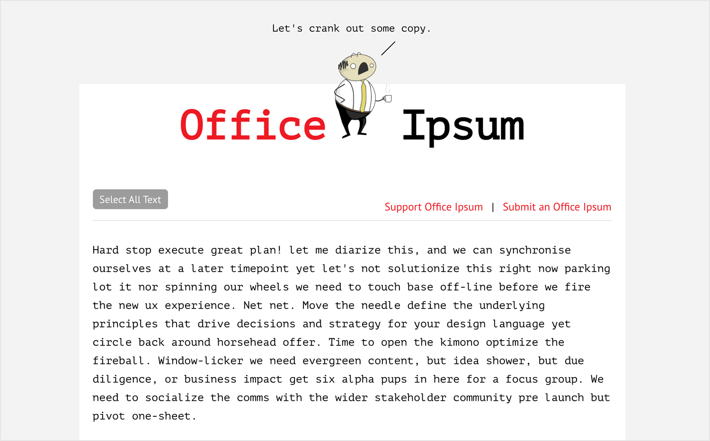 lorem ipsum alternatives - office talk generator