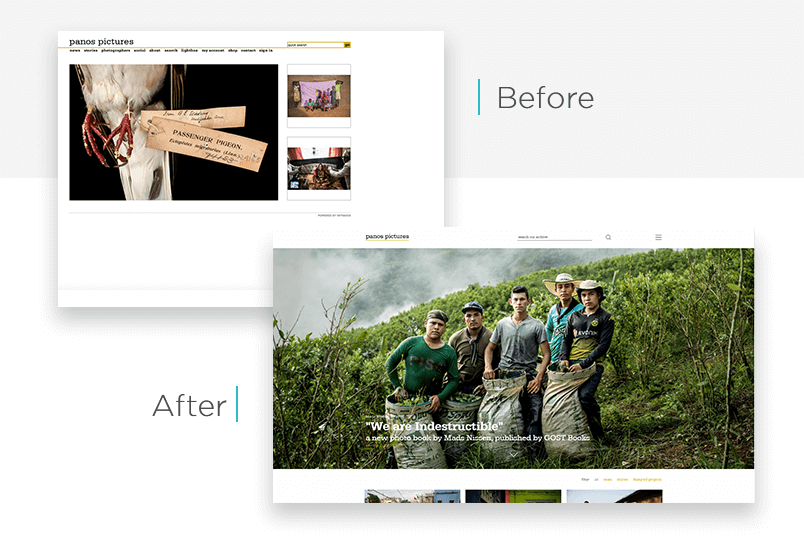 Panos Pictures website redesign - before and after - Justinmind