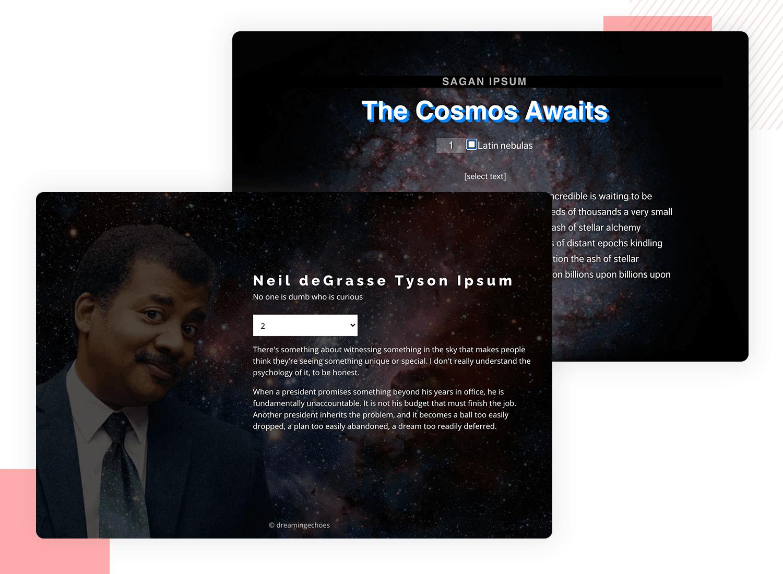 lorem ipsum alternatives - cosmic talk generator (Sagan and Tyson)
