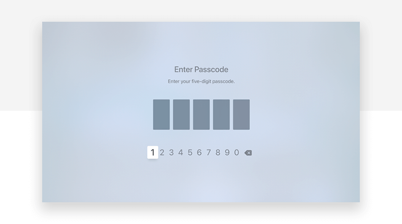 tvOS - Digits text entry - Justinmind UX design