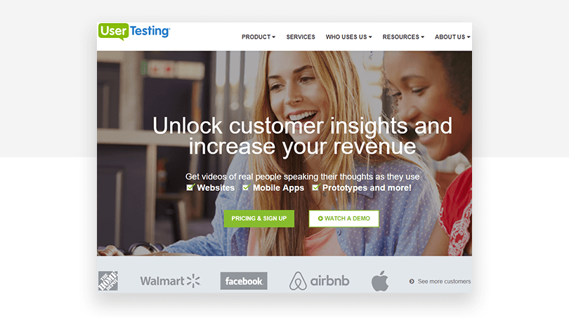 UserTesting's old CTA - website redesign - Justinmind
