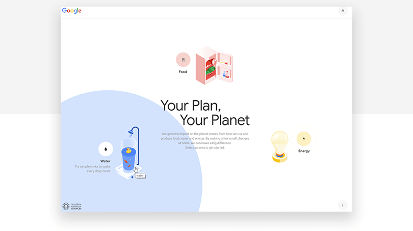 Google Sustainability - web design trends 2019 - Justinmind