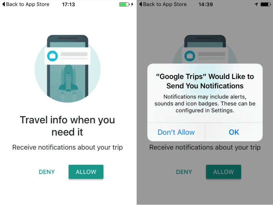 Asking to send push notifications during user onboarding experience - Google trips example
