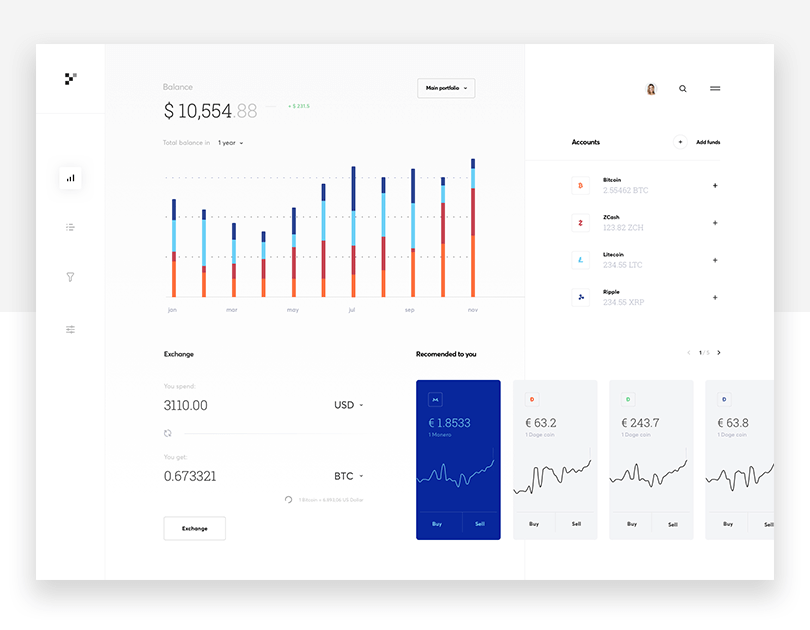 Cryptocurrency dashboard - Justinmind