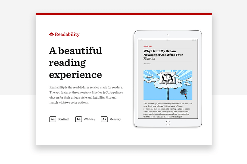 readability example within interaction design - text component