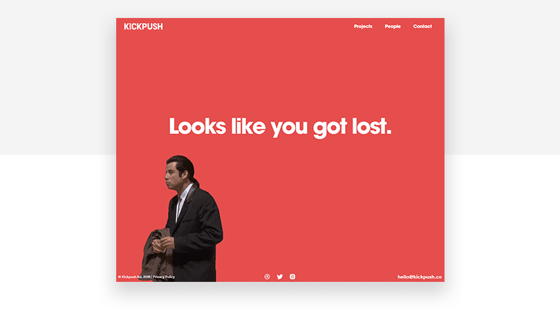 Kickpush 404 page design with humor
