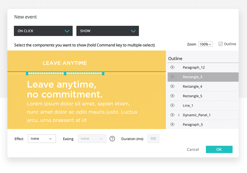Prototyping interactions in design of landing page with justinmind