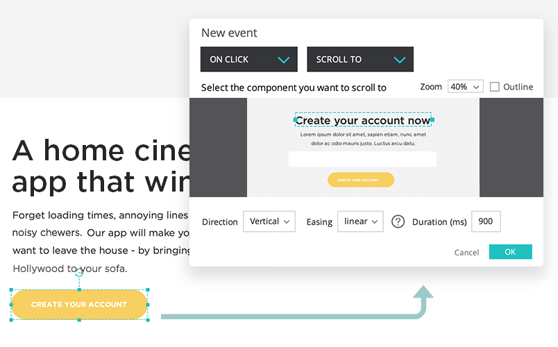 How to create a scroll to interaction in a landing page with justinmind