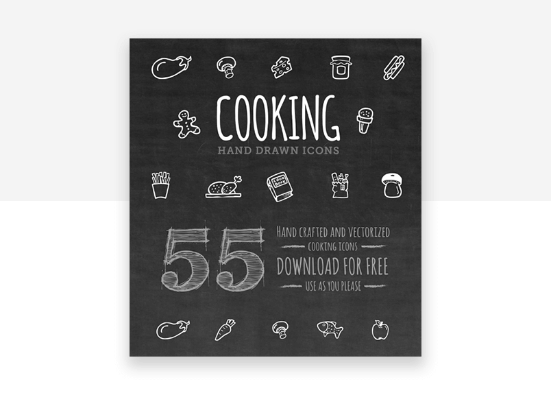 Free set of cooking website icons - hand drawn with chalk effect