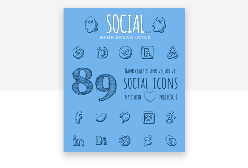 Social media website icons - hand drawn, from Good Stuff No Nonsense