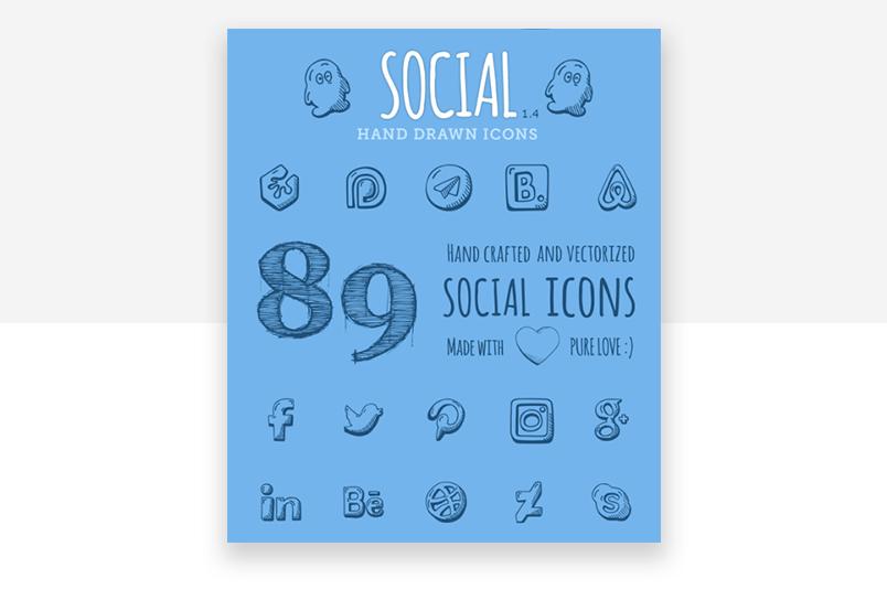Social media website icons - hand drawn, from Good Stuff No Nonsense