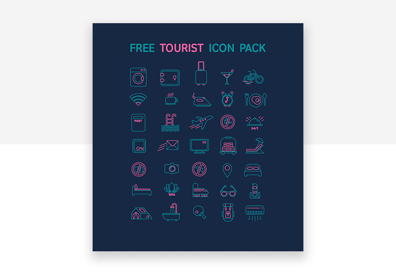 Free website icons for the tourism and travel sector - modern UX design