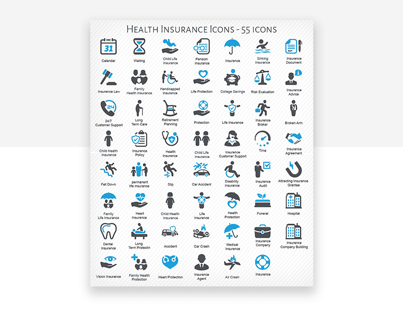 Solid website icons for health and fitness UX design - health insurance