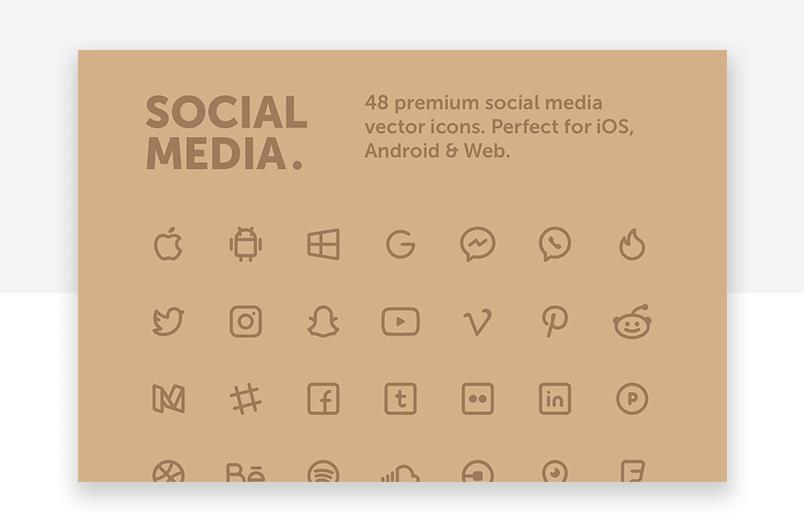 Social media - minimalist premium website icons