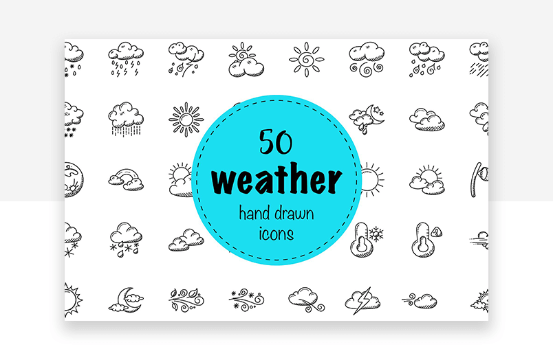 Website icons for weather app or weather website