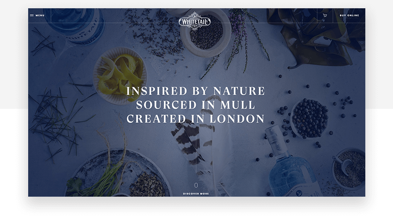 Whitetail Gin - web design trends 2019 - Justinmind