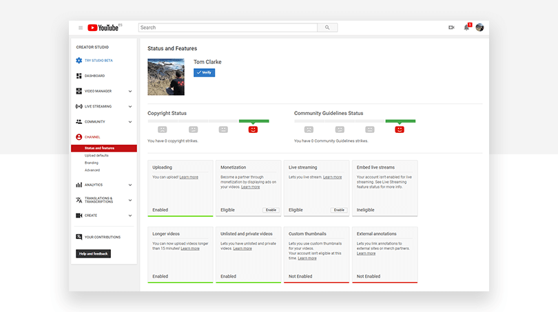 YouTube Channel Status dashboard - Justinmind