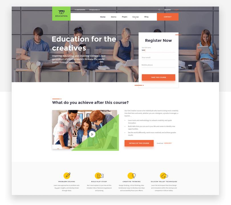 Education - responsive website mockup template - Justinmind