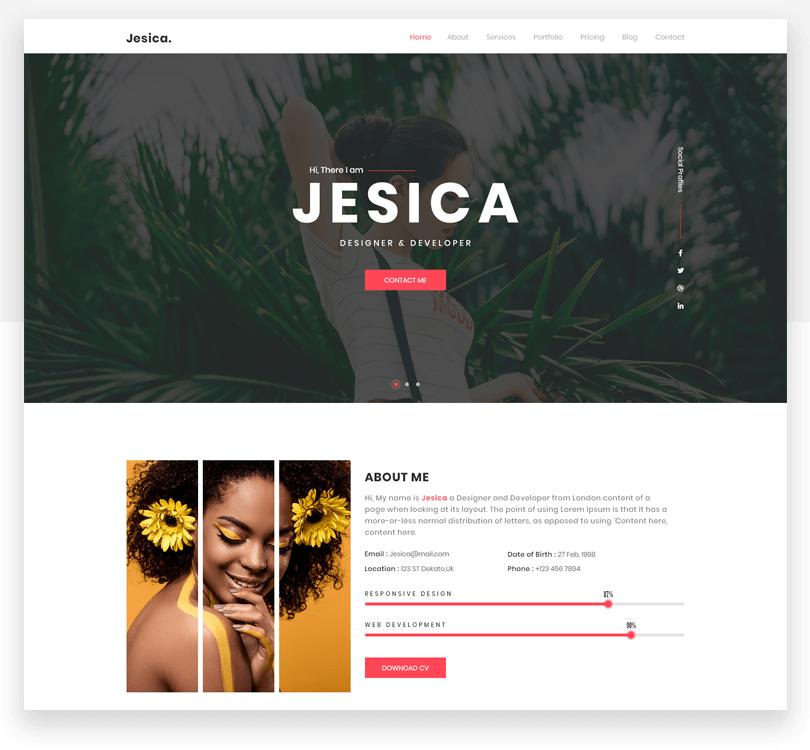 Jesica - responsive website mockup template - Justinmind
