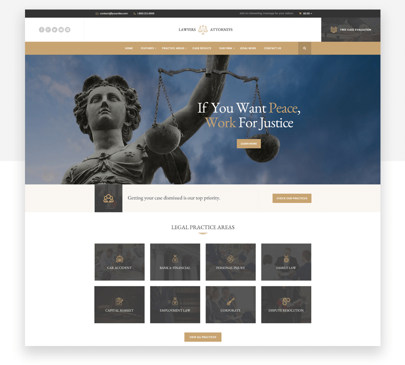 Lawyer Attorneys - responsive website mockup template - Justinmind