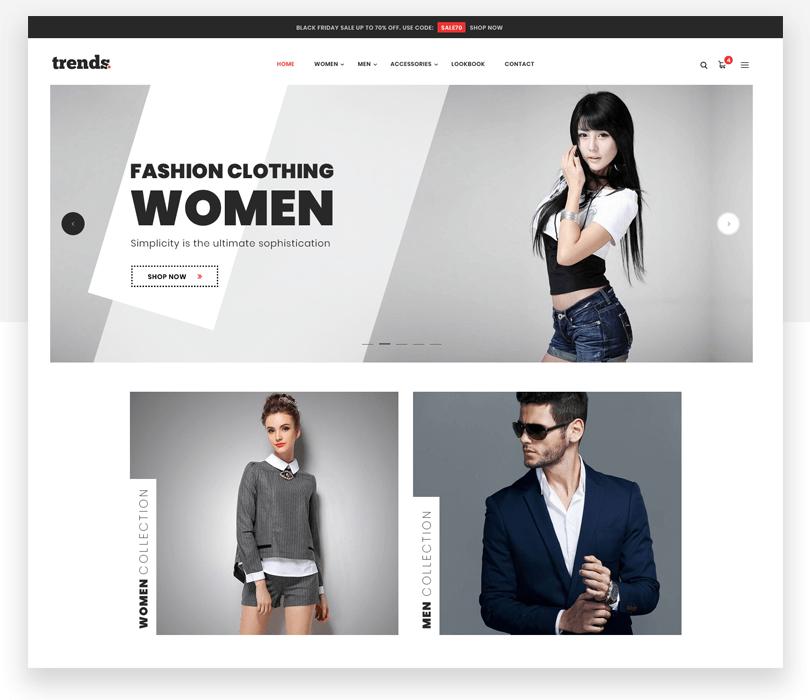 Trends - responsive website mockup template - Justinmind