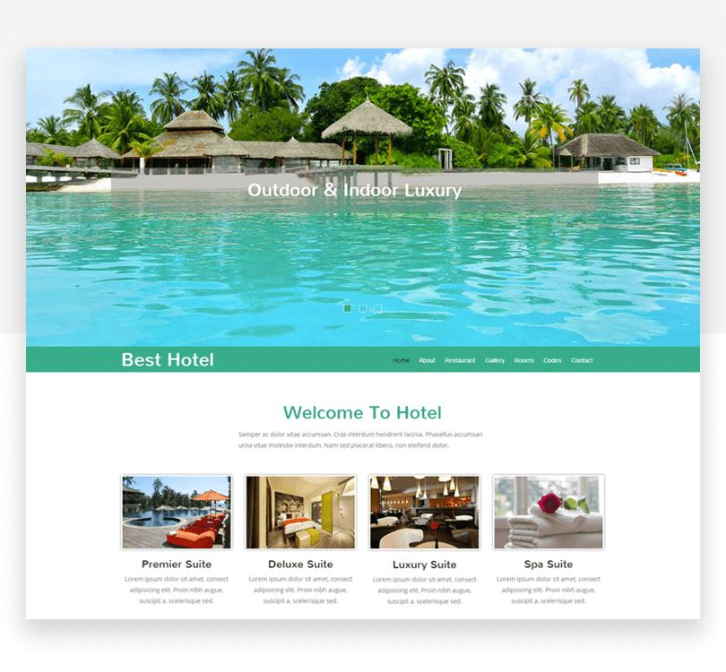 Best Hotel - free responsive website mockup template - Justinmind