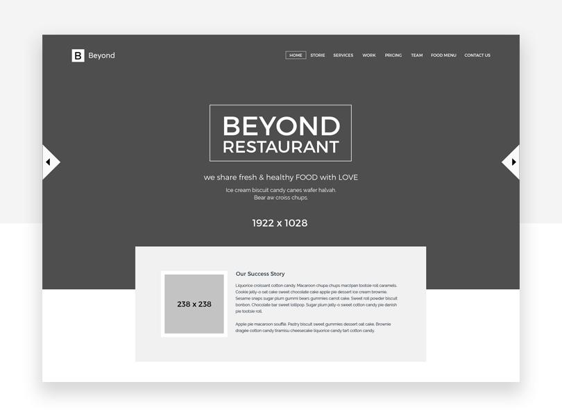Beyond - free responsive website mockup template - Justinmind