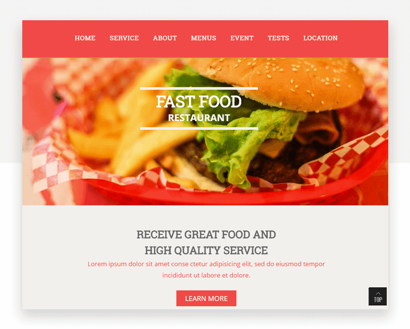 Fast Food - free responsive website mockup template - Justinmind