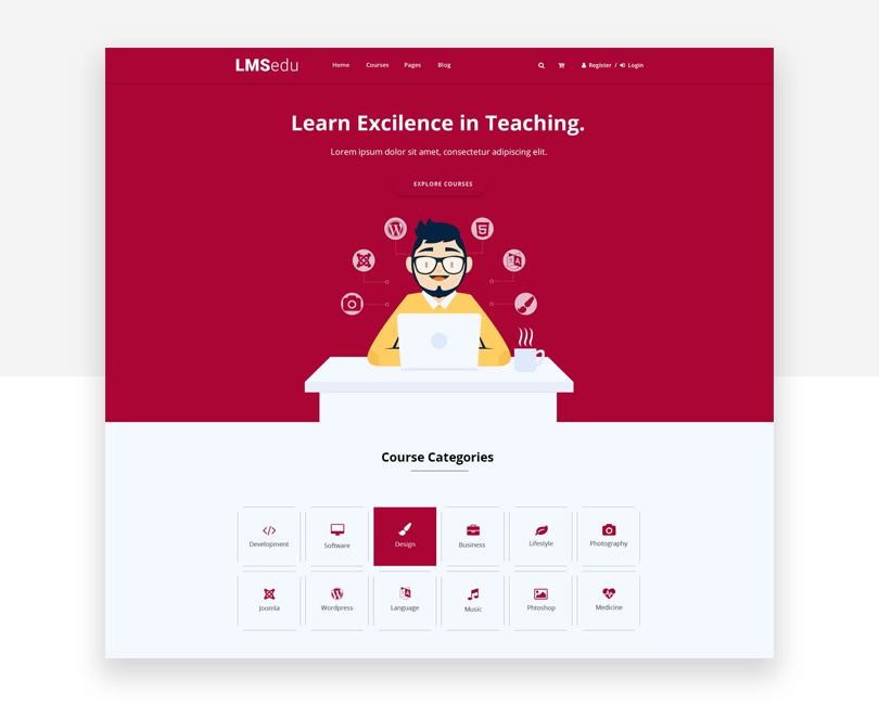 LMS - free responsive website mockup template - Justinmind