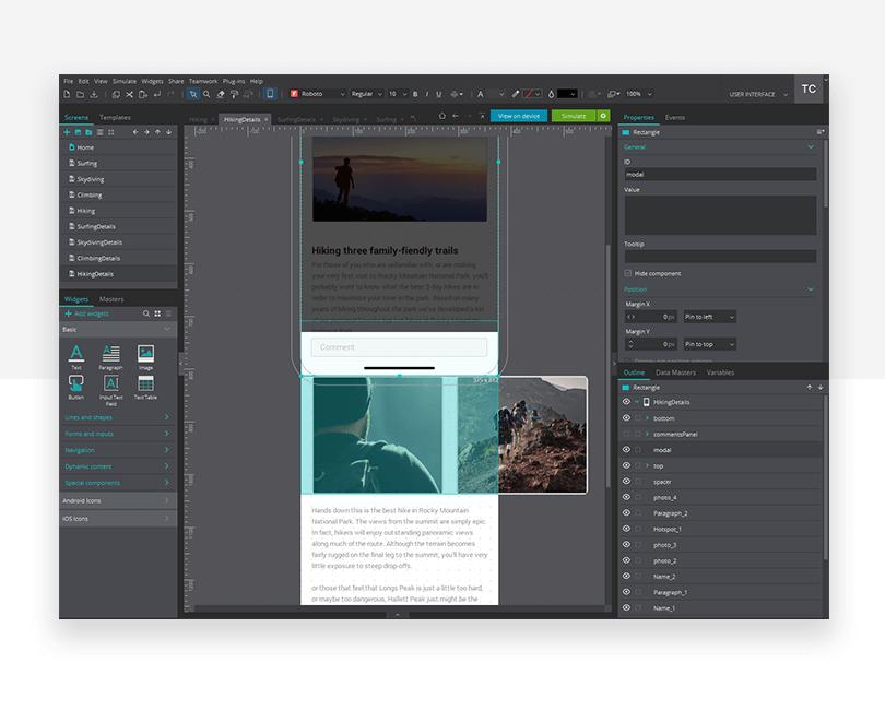 Comments field - mockup design - Justinmind