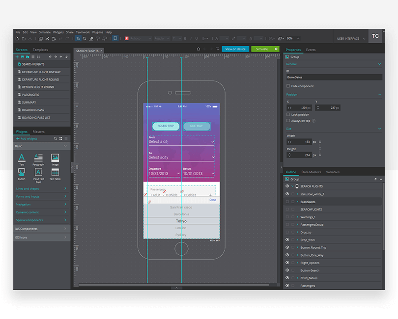 Elements in a layout - mockup design - Justinmind